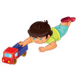little boy lies on his stomach and rolls a vector image vector image
