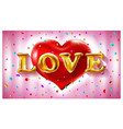 love gold ballons text - pink background - red vector image vector image