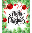 merry christmas hand drawn lettering in fir-tree vector image