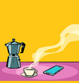 morning hot coffee on table vector image