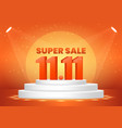november 11 super sale shopping day on pedestal vector image vector image