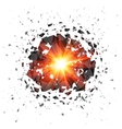 Red flaming meteor explosion isolated on white vector image vector image