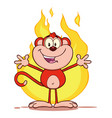 red monkey cartoon character welcoming over flames vector image vector image