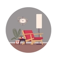 Retro interior with a divan standing lamp vector image vector image