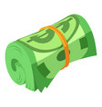 rolled dollars icon isometric style vector image