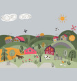 rural landscape with cute vector image vector image