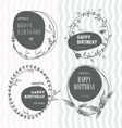 set floral stamps birthday vector image