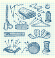 set of hand drawn sewing elements vector image vector image
