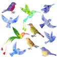 set of polygonal birds silhouettes vector image