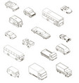 set with contours different cars in isometric vector image vector image