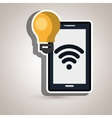smartphone with bulb isolated icon design vector image