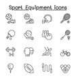 sport equipment icons set in thin line style vector image