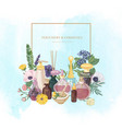 square backdrop with perfume in glass bottles of vector image vector image