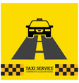taxi icon taxi service taxi car running on road vector image vector image