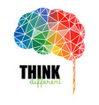 think different concept low poly colorful brain vector image vector image