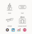 ticket cruise ship and airplane icons vector image vector image