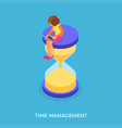 time management with girl and hourglass vector image