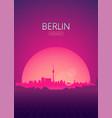 travel poster futuristic retro skyline berlin vector image vector image