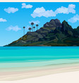 tropical coastline with blue water and a mountain vector image vector image