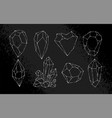 white hand-drawn crystals set vector image vector image
