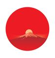 Fujiyama before sun in circle area vector image
