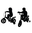 child silhouette black with bike design vector image