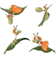 a set of cartoon cute snails vector image