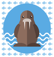 Abstract with a brown walrus on blue water vector image vector image
