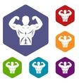 Athletic man torso icons set vector image vector image