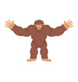 bigfoot joyful yeti cheerful abominable snowman vector image