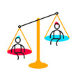 business of men sitting on the scales of justice vector image vector image