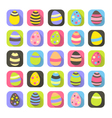 Colorful Easter symbols set eggs icons