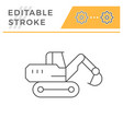crawler excavator line icon vector image