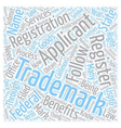 federal trademark text background wordcloud vector image vector image