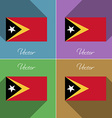 Flags East Timor Set of colors flat design and vector image vector image
