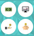 flat icon incoming set of hand with coin chart vector image vector image