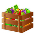 fresh fruits in a wooden box vector image vector image