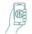 hand holding smartphone gps navigation screen vector image vector image