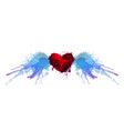 heart with wings made colorful grunge splashes vector image vector image