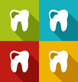 icons of human tooth with shadows in modern flat vector image vector image