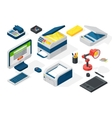 Isometric office equipment vector image vector image