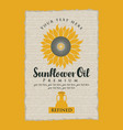 label for refined sunflower oil with a jug vector image vector image