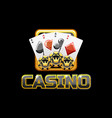 logo text casino and icon on black background for vector image vector image