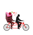 lover of cakes man and piece of cake in tandem vector image vector image