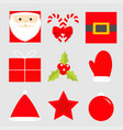 merry christmas new year icon set star holly vector image