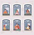 neighbors in their apartments spend time at home vector image vector image