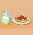 pasta and olive oil concept background cartoon vector image
