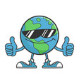 planet earth cartoon character with sunglasses vector image vector image