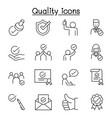 quality approved check mark icons set in thin vector image