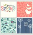 retro spring birds flowers doodles vector image vector image